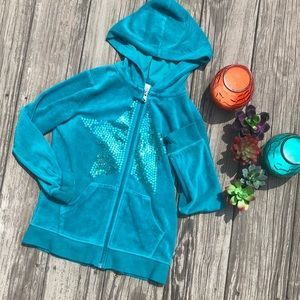 Girls teal zip up hoodie